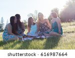 group of girls sitting together ... | Shutterstock . vector #616987664