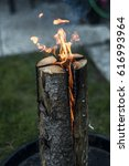 Small photo of Swedish torch fire burning stub on plate for rest or to cook food chill mood