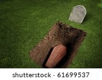 photo of wooden coffin at a...   Shutterstock . vector #61699537