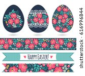 set with easter eggs and...   Shutterstock .eps vector #616996844