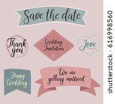 wedding set of calligraphy...   Shutterstock .eps vector #616998560