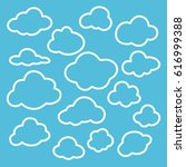 clouds set line icons vector... | Shutterstock .eps vector #616999388