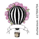 hot air balloon with pink peony ... | Shutterstock .eps vector #617004704