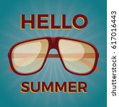 hello summer. old school poster ... | Shutterstock .eps vector #617016443