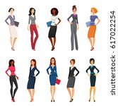 vector set of elegant girls in... | Shutterstock .eps vector #617022254