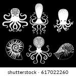 set of octopus on black... | Shutterstock .eps vector #617022260