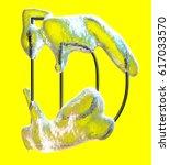 cool letter d made of metal... | Shutterstock . vector #617033570