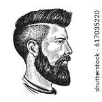 hand drawn portrait of man in... | Shutterstock .eps vector #617035220