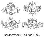 vector set of various heraldic... | Shutterstock .eps vector #617058158