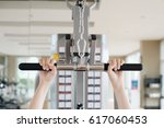 people are exercising by... | Shutterstock . vector #617060453