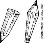 sketch vector of pencil in... | Shutterstock .eps vector #617062400