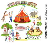 touring circus tent in the city.... | Shutterstock .eps vector #617062913