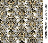 luxury  damask seamless pattern.... | Shutterstock .eps vector #617071280
