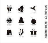 set of 9 black christmas icons
