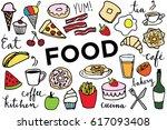 hand sketched doodle food clip... | Shutterstock .eps vector #617093408