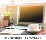 desk workplace with laptop... | Shutterstock . vector #617096819