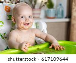 little funny infant smiling... | Shutterstock . vector #617109644