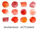 vector set of hand painted red... | Shutterstock .eps vector #617116664