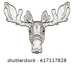 deer head coloring book vector... | Shutterstock .eps vector #617117828