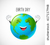happy globe mascot. earth day... | Shutterstock .eps vector #617117948
