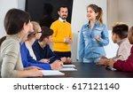 diligent serious positive... | Shutterstock . vector #617121140