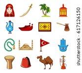 turkey travel icons set.... | Shutterstock .eps vector #617126150