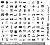 100 parking icons set in simple ... | Shutterstock .eps vector #617126174