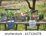 laid table with toasts grilled... | Shutterstock . vector #617126378