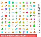 100 kitchen utensils icons set... | Shutterstock .eps vector #617126996