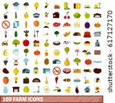 100 farm icons set in flat... | Shutterstock .eps vector #617127170