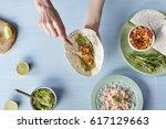 horizontal top view of uncooked ... | Shutterstock . vector #617129663
