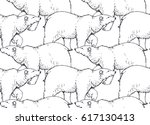 seamless pattern with hand... | Shutterstock .eps vector #617130413