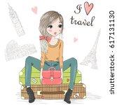hand drawn beautiful cute girl... | Shutterstock .eps vector #617131130