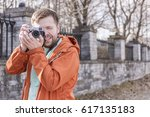 happy smiling tourist... | Shutterstock . vector #617135183