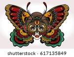 beautiful portrait of the girl... | Shutterstock .eps vector #617135849