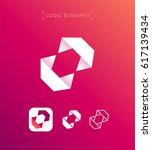 vector abstract origami logo... | Shutterstock .eps vector #617139434