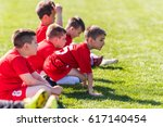 kids soccer waiting in a out | Shutterstock . vector #617140454