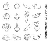 icons of vegetables. cooking... | Shutterstock .eps vector #617144903