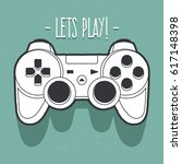 vector art of joystick. doodle... | Shutterstock .eps vector #617148398