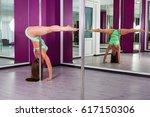 pretty pole dancer practicing... | Shutterstock . vector #617150306