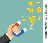 human hand holding a magnet....   Shutterstock .eps vector #617151080