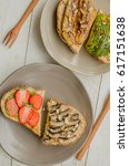 Small photo of Homemade lavish and delicious breakfast toast / Strawberry Mushroom Toast / Weekend treats for working couples or families with good nutrition intake for a healthier life