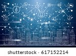 smart city with neon buildings  ... | Shutterstock .eps vector #617152214