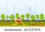 public park with children... | Shutterstock .eps vector #617157074