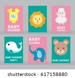 baby shower card vector... | Shutterstock .eps vector #617158880