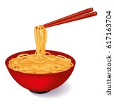 Red Bowl Of Noodles Soup With...