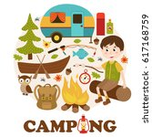 camping elements and boy   ...   Shutterstock .eps vector #617168759