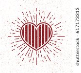 vintage stripe heart symbol...   Shutterstock .eps vector #617173313