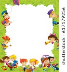 cartoon frame with children... | Shutterstock . vector #617179256