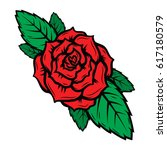 old school tattoo style roses... | Shutterstock . vector #617180579